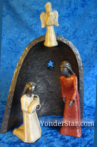 Bronze nativity scene.