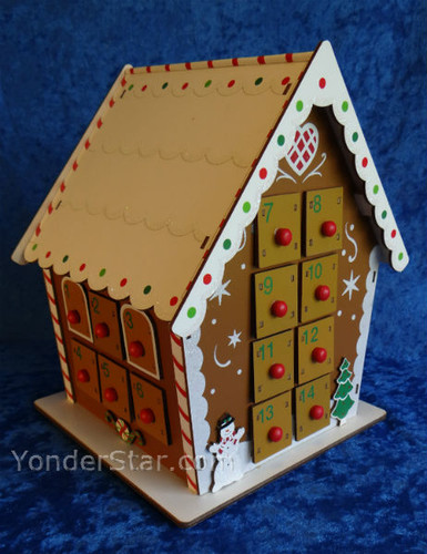 Wooden Advent Calendar Gingerbread House