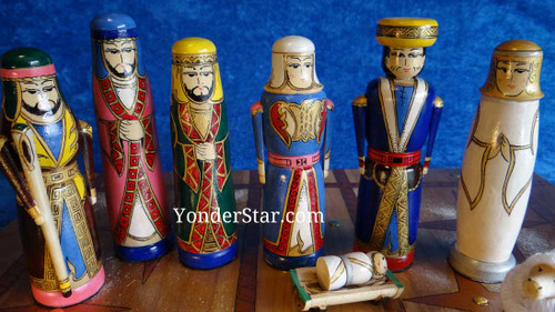 """5.5"""" Hand-made Wooden Nativity Scene from Kyrgyzstan"""