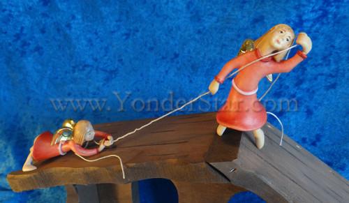 Kastlunger Rapelling Angels Set of Two for LEPI Kastlunger Wooden Nativity