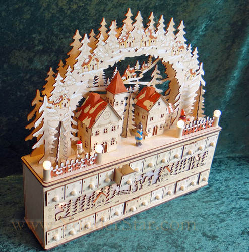 Lighted Wooden Advent Calendar Winter Wonderland - Leaves Warehouse within 1 Business Day*