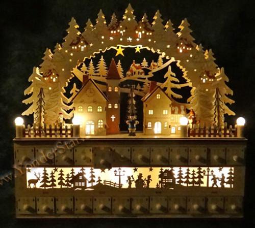 Lighted Wooden Advent Calendar  Winter Wonderland