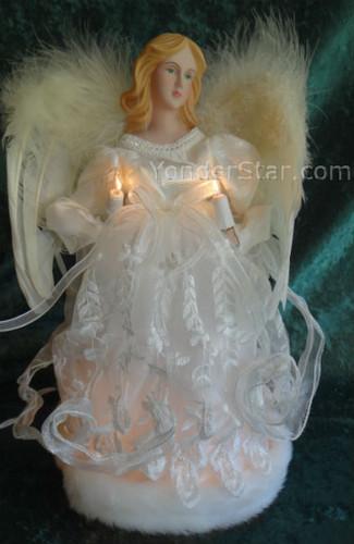 "12"" Ivory Angel Fiber Optic Tree Topper"