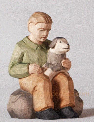 Boy with Dog - Huggler Nativity Woodcarving Switzerland