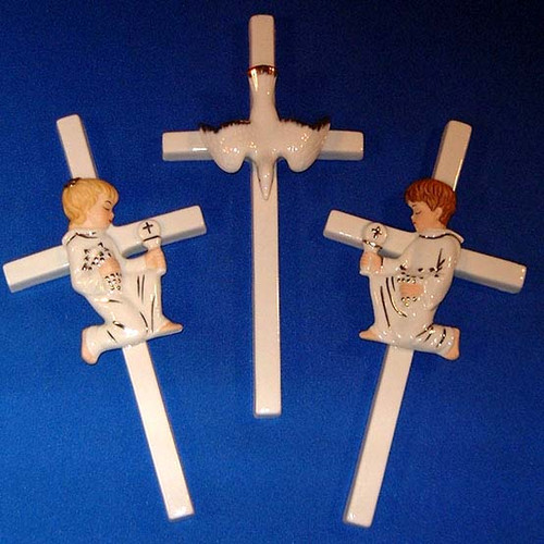 Porcelain Cross - Holy Spirit Dove or Girl First Communion