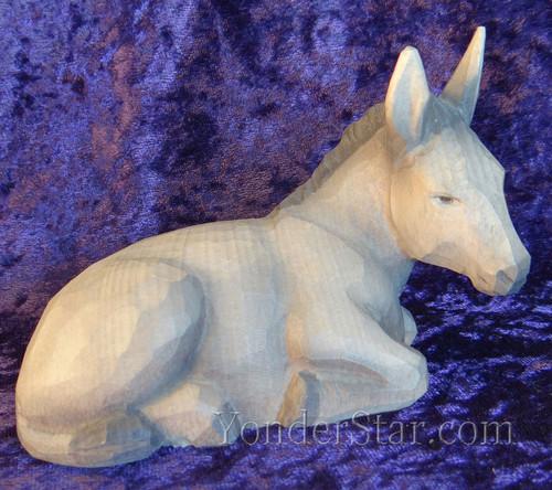 Seated Donkey Huggler Nativity Woodcarving