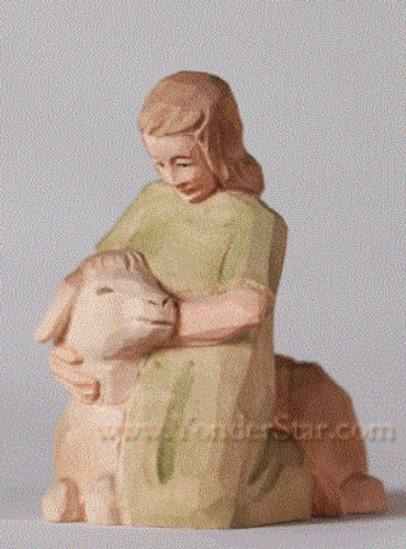 Girl with Sheep - Huggler Nativity Woodcarving