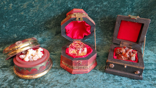 Three Presentation Chests of Real Gold, Frankincense, and Myrrh - Deluxe Size The Gift of Kings