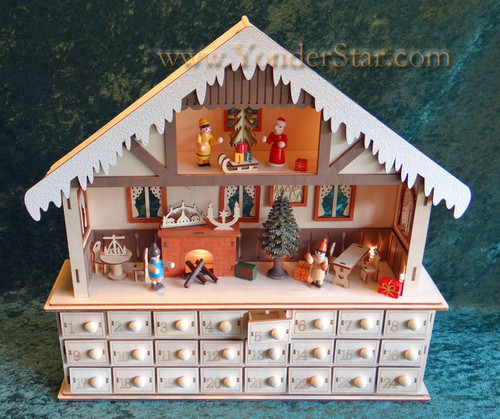 Lighted Wooden Advent Calendar - Winter Chalet Advent Calendar - Leaves Warehouse within 1 Business Day*