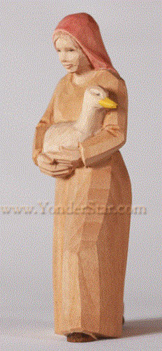 Woman with Goose - Huggler Nativity Woodcarving