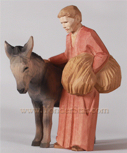 Man with Donkey - Huggler Nativity Woodcarving