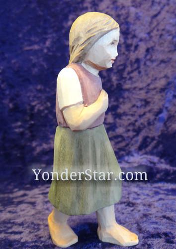 Girl Walking - Huggler Nativity Woodcarving