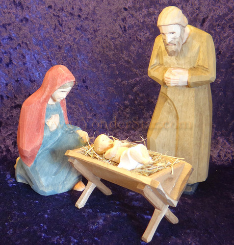 Holy Family - Huggler Nativity Woodcarving