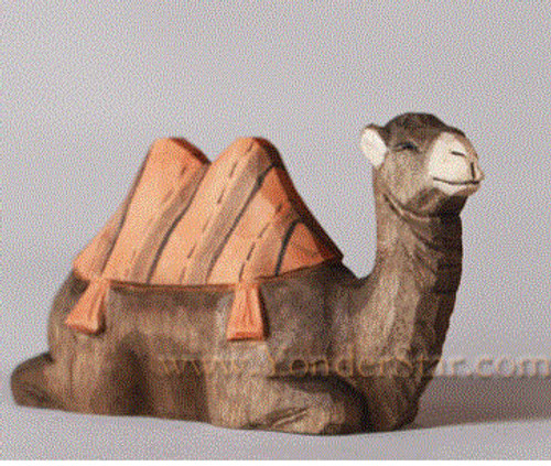 Young Camel Seated - Huggler Nativity Woodcarving - 14cm Scale