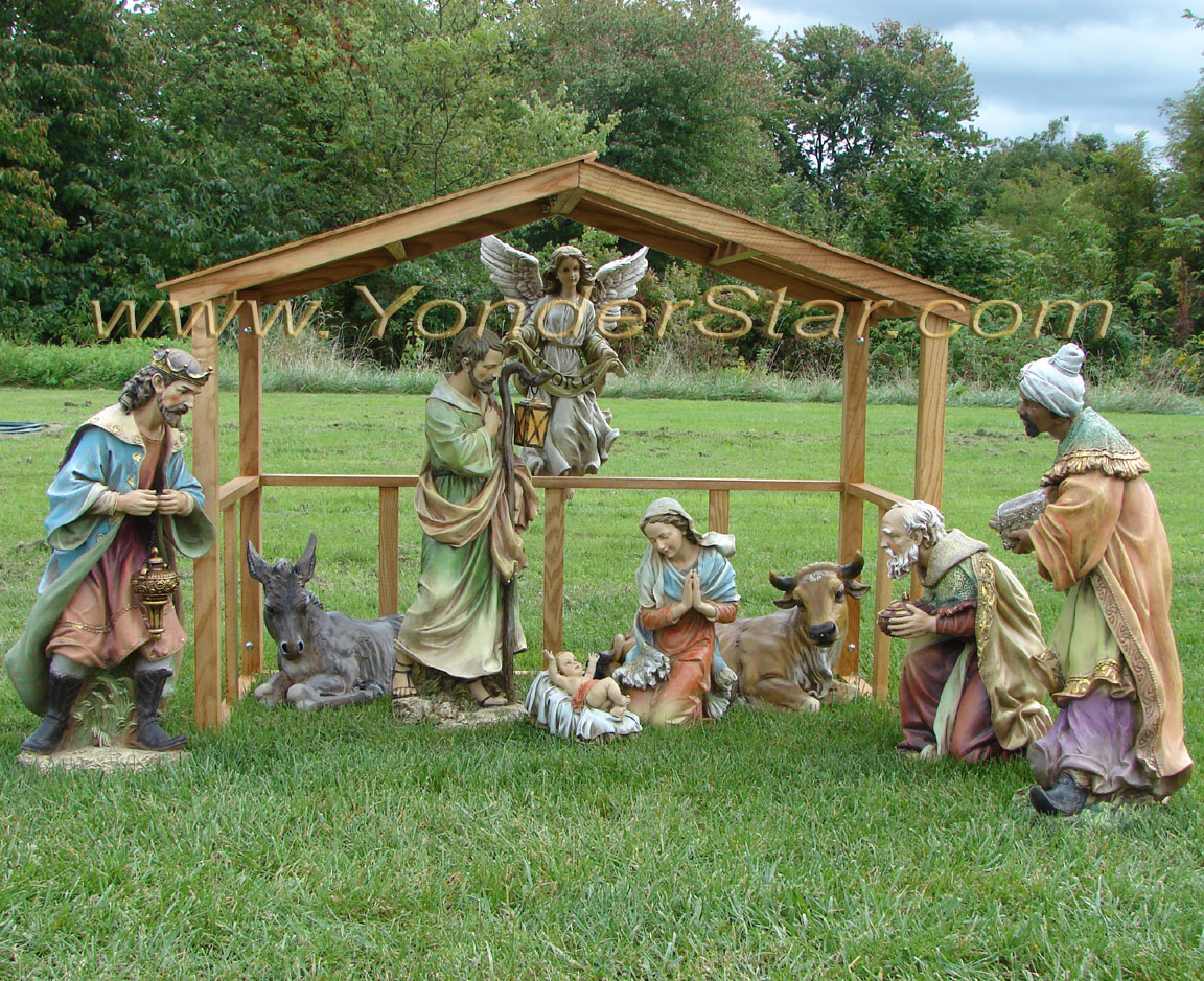 Outdoor Nativity Scene With Wooden Stable ...