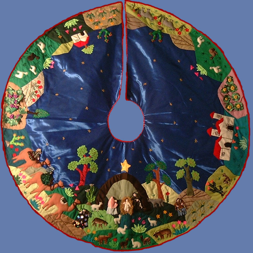 nativity scene arpillera tree skirt hand sewn peru - Blue Christmas Tree Skirt