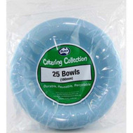 Light Blue Plastic Bowls - Pkt 25 x 180mm