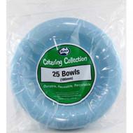 Light Blue Plastic Bowls - Pkt 25 x 17cm