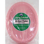 Light Pink Plastic Oval Plates - Pkt 25 x 30cm