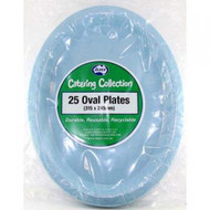 Light Blue Plastic Oval Plates - Pkt 25 x 30cm