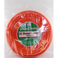 Orange Plastic Plate - Pkt 25 x 23cm