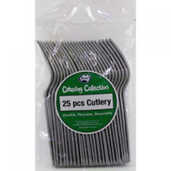 Silver Plastic Cutlery - Pkt 25 x Forks