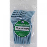 Light Blue Plastic Cutlery - Pkt 25 x Forks