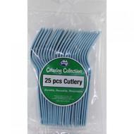 Light Blue Plastic Cutlery - Pkt 25 x Forks