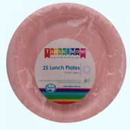 Light Pink Plastic Plates - Pkt 25 x 180mm