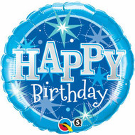 Birthday Blue Sparkle - 45cm Inflated Foil