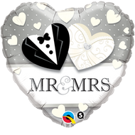 "Wedding ""Mr. & Mrs"" - 45cm Inflated Foil"