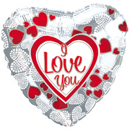 "ILY ""Mosaic Hearts"" - 43cm Inflated Foil"