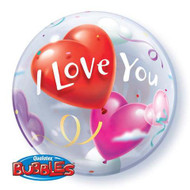 "ILY ""Hearts"" - Inflated 22"" Bubble"