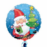 "Xmas ""Santa with Tree"" - 45cm Inflated Foil"