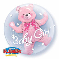 "Baby Girl ""Pink Bear"" - Inflated 24"" Double Bubble"