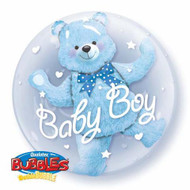 "Baby Boy ""Blue Bear"" - Inflated 24"" Double Bubble"