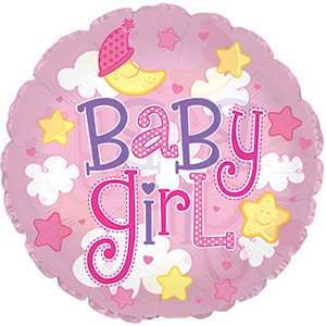 "24"" (61cm) Clear Film Baby Girl Clouds"