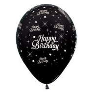 "30cm Birthday ""Metallic Black"" - Pack of 25"