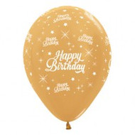 "30cm Birthday ""Metallic Gold"" - Pack of 25"