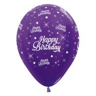 "30cm Birthday ""Metallic Purple"" - Pack of 25"