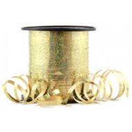 5mm x 225mtr Holographic Gold Metallic Curl Ribbon