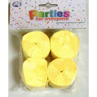 35mm Crepe Streamers - Canary Yellow Pack of 4