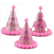 """Birthday Pom"" Pink Party Hat - Each"