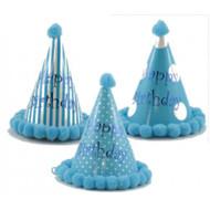 """Birthday Pom"" Blue Party Hat - Each"