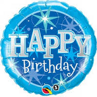"Birthday ""Blue Sparkle"" - 90cm Flat Shape"