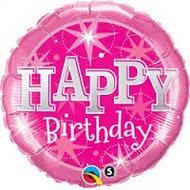 "Birthday ""Pink Sparkle"" - 90cm Flat Shape"