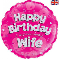 Happy Birthday Wife - 45cm Inflated Foil