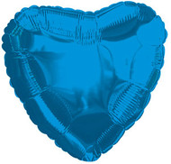 43cm Solid Blue Heart - Inflated