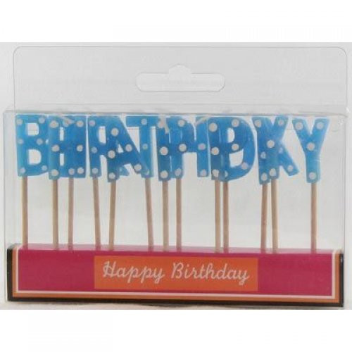 Blue Polka Dot Birthday Candles
