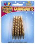 Pkt 10 Metallic Gold Candles with Holders